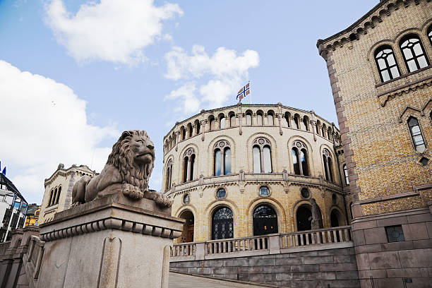 Norwegian parliament bulding. The Lion o in front of the Norwegian Parliament Building. Oslo, Norway. oslo stock pictures, royalty-free photos & images