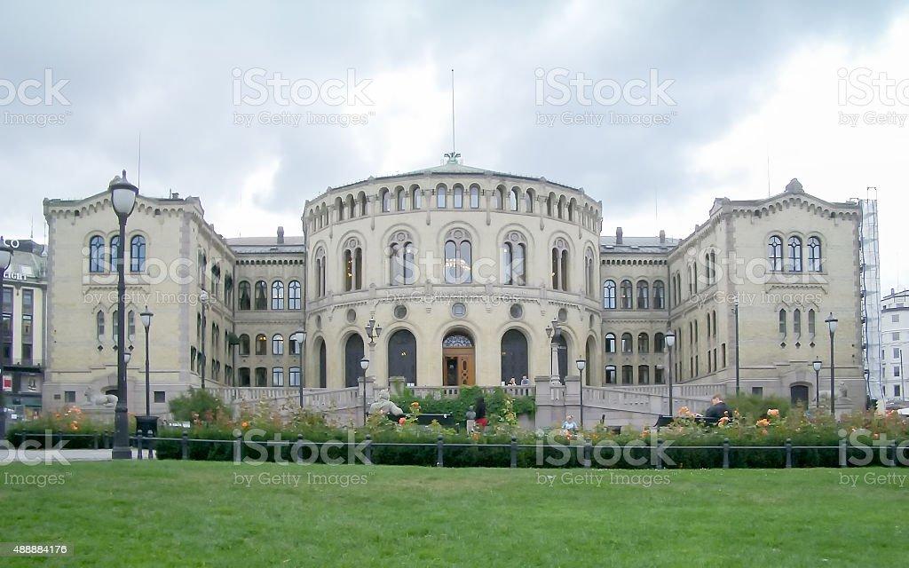 Norwegian Parliament, Oslo, Norway (2004) stock photo