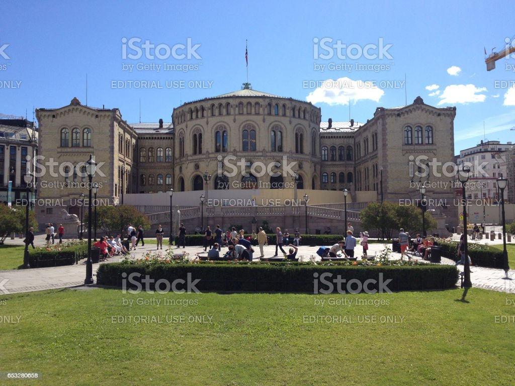 Norwegian Parliament Storting building in Oslo Norway stock photo