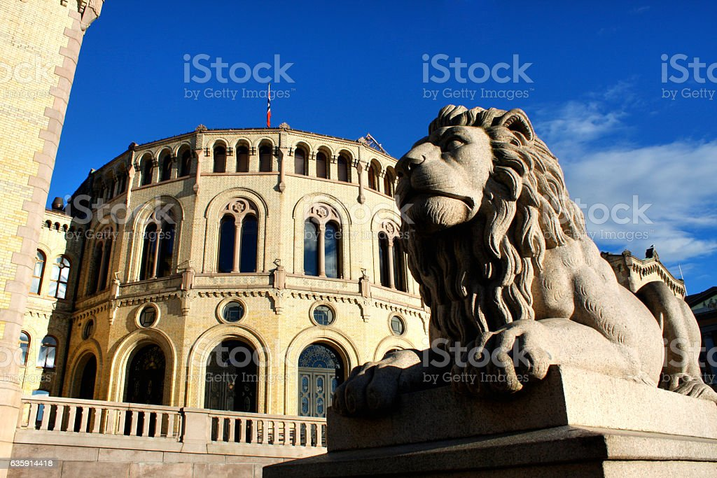 Norwegian parliament Storting Oslo in central Oslo, Norway stock photo