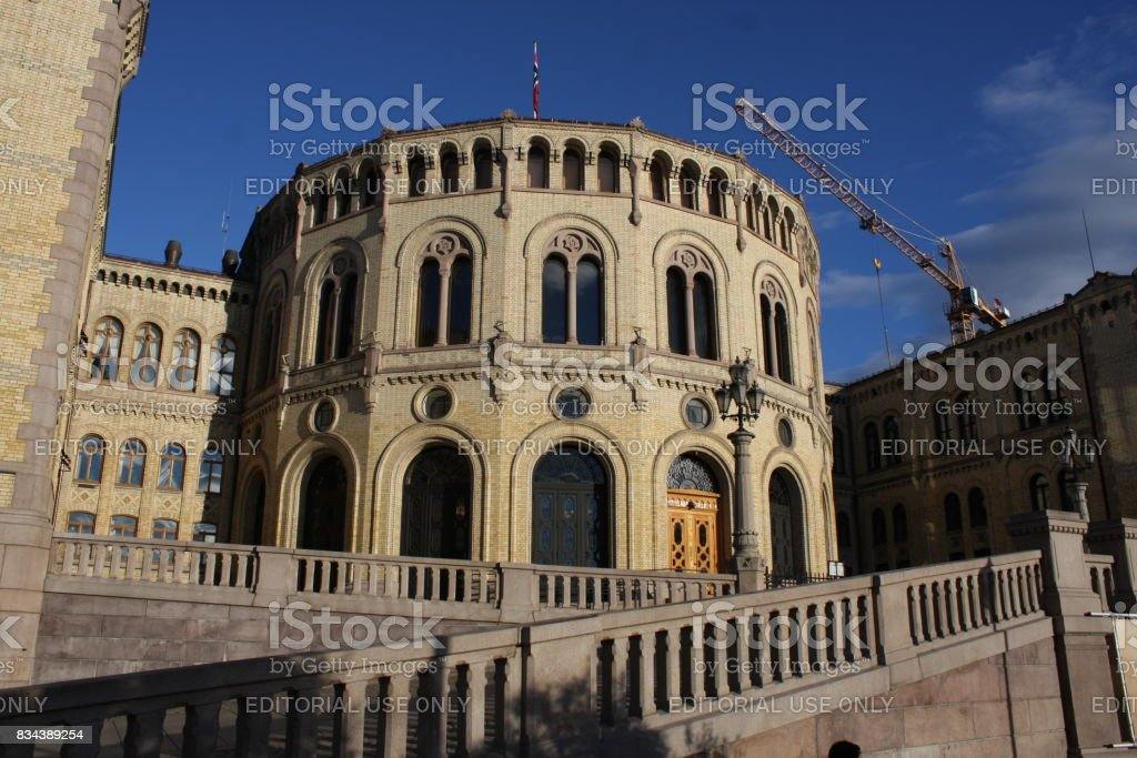 Norwegian parliament Storting Oslo in central Oslo, Norway. stock photo