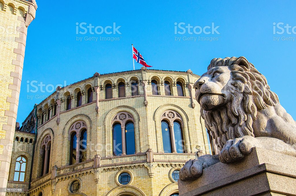 Norwegian Parliament Stortinget in Oslo, Norway stock photo