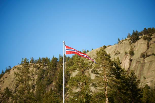 norwegian pennant on a pole - norwegen fahne stock-fotos und bilder