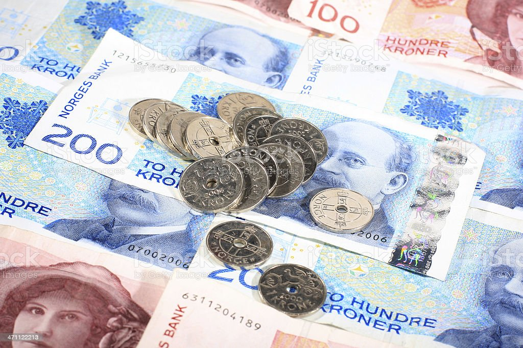 Norwegian printed bills and coins stock photo