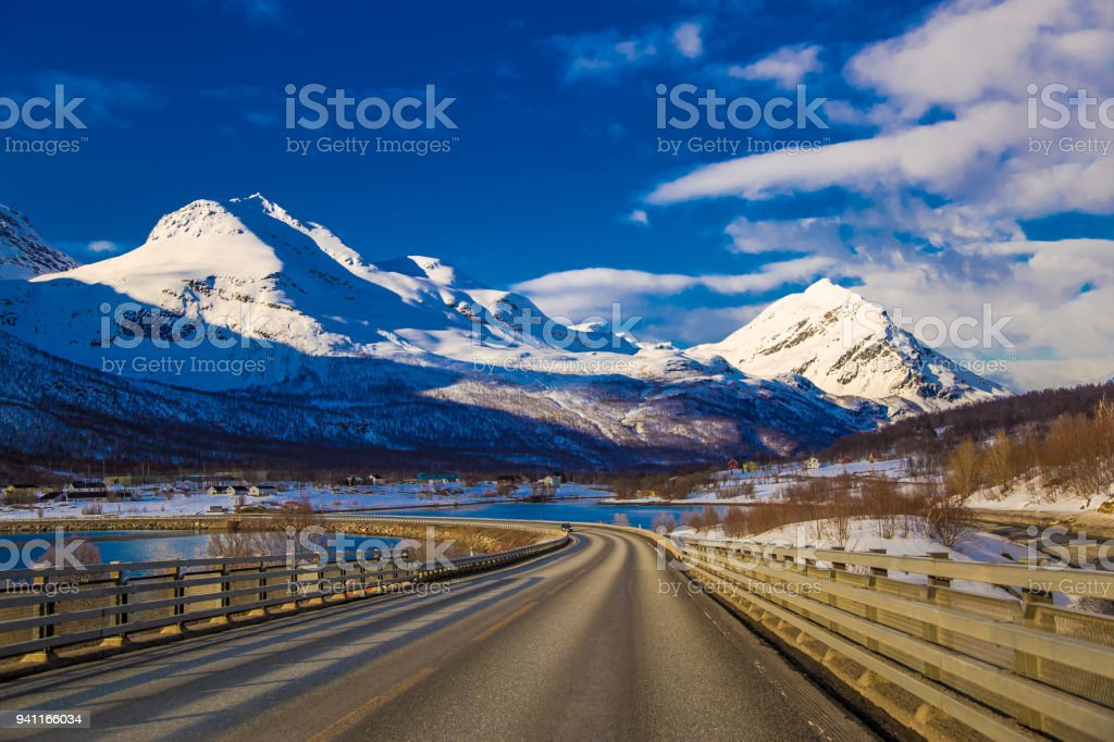 Norwegian road stock photo