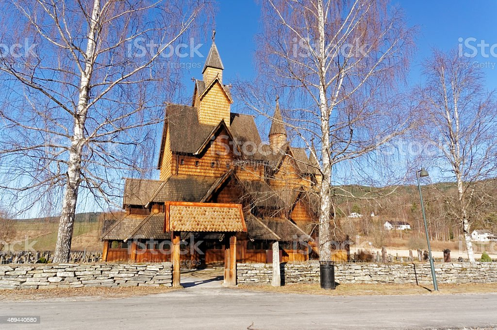 Norwegian stave church (stavkirke) stock photo