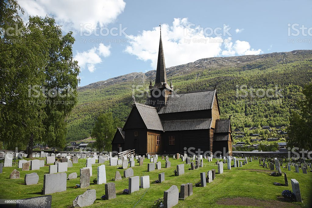 Norwegian Stave Church. stock photo