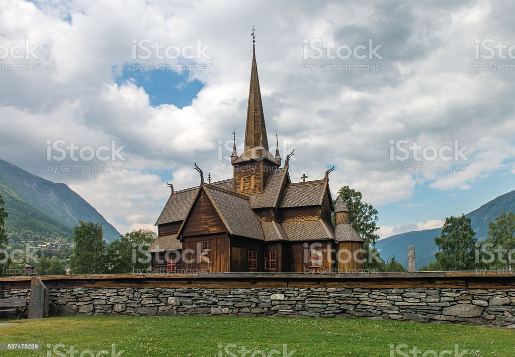 Norwegian traditional christian church named Kyrka stock photo
