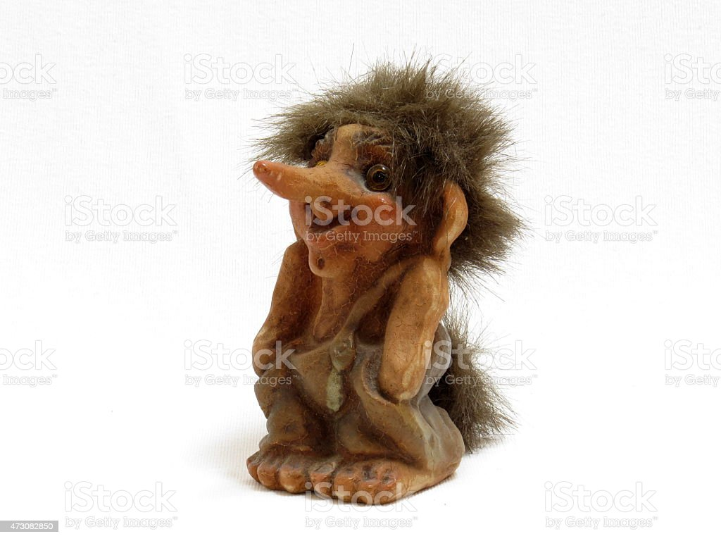 Norwegian Troll Figure, isolated on white background stock photo