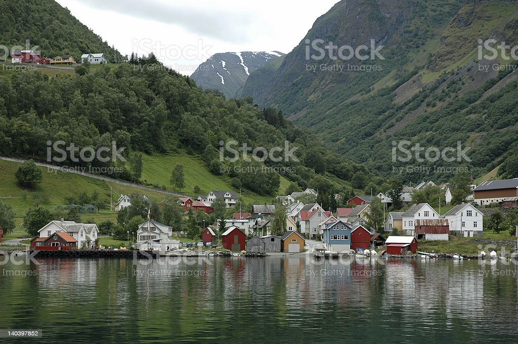 Norwegian village on Fjord shore royalty-free stock photo