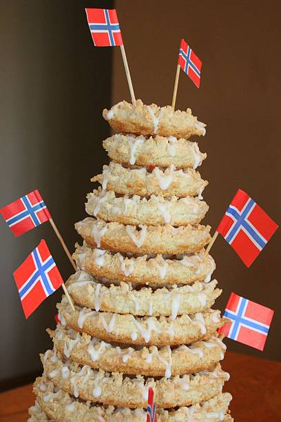 Norwegian Wedding Cake Kransekake, also known as 18-layer Norwegian wedding cake, is the signature cake of Norway, earning a place of honor on many wedding, birthday, graduation and holiday banquet tables.  norwegian culture stock pictures, royalty-free photos & images