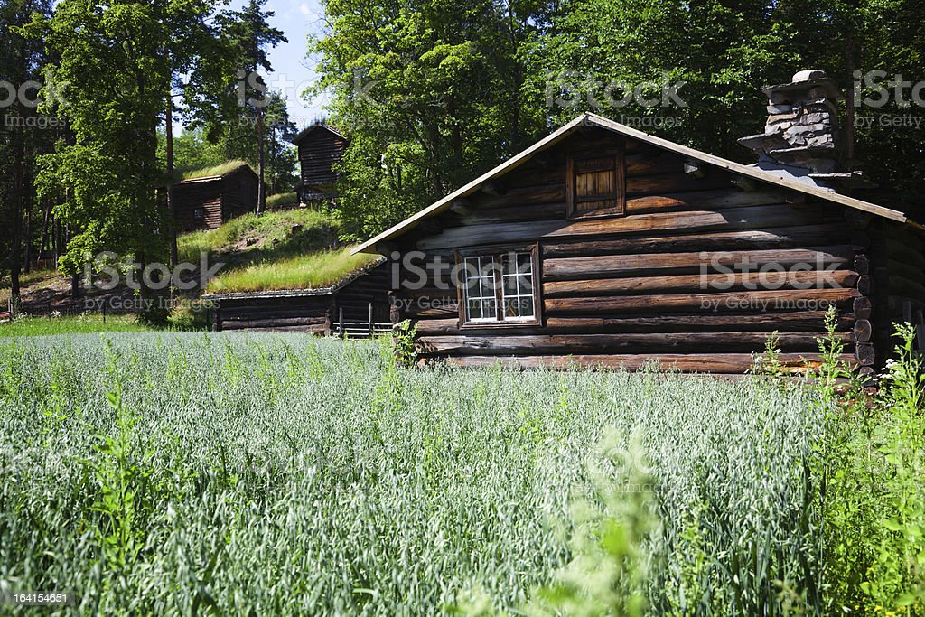 Norwegian Wooden Houses Log Cabin in the Forest royalty-free stock photo