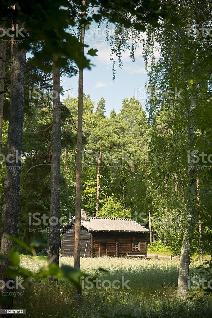Norwegian Wooden Log Cabin House in the Forest royalty-free stock photo