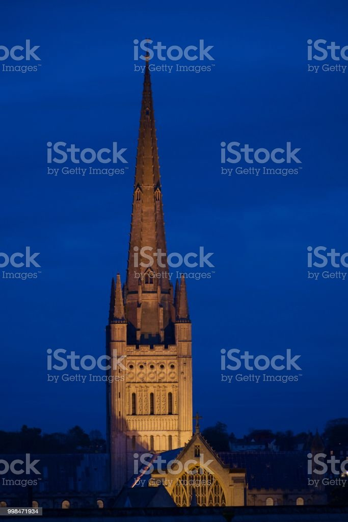 Norwich Cathedral at Night stock photo