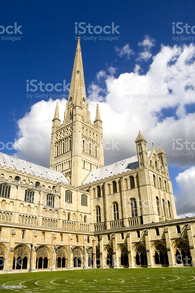 Norwich Cathedral from the cloisters royalty-free stock photo