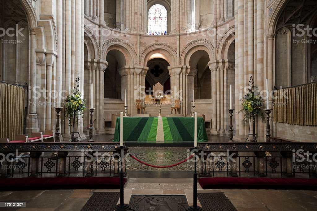Norwich Cathedral high altar and Bishop's throne royalty-free stock photo