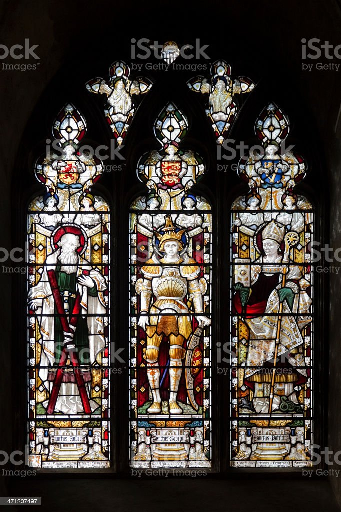Norwich Cathedral - Victorian stained glass window (Norfolk Regiment) royalty-free stock photo