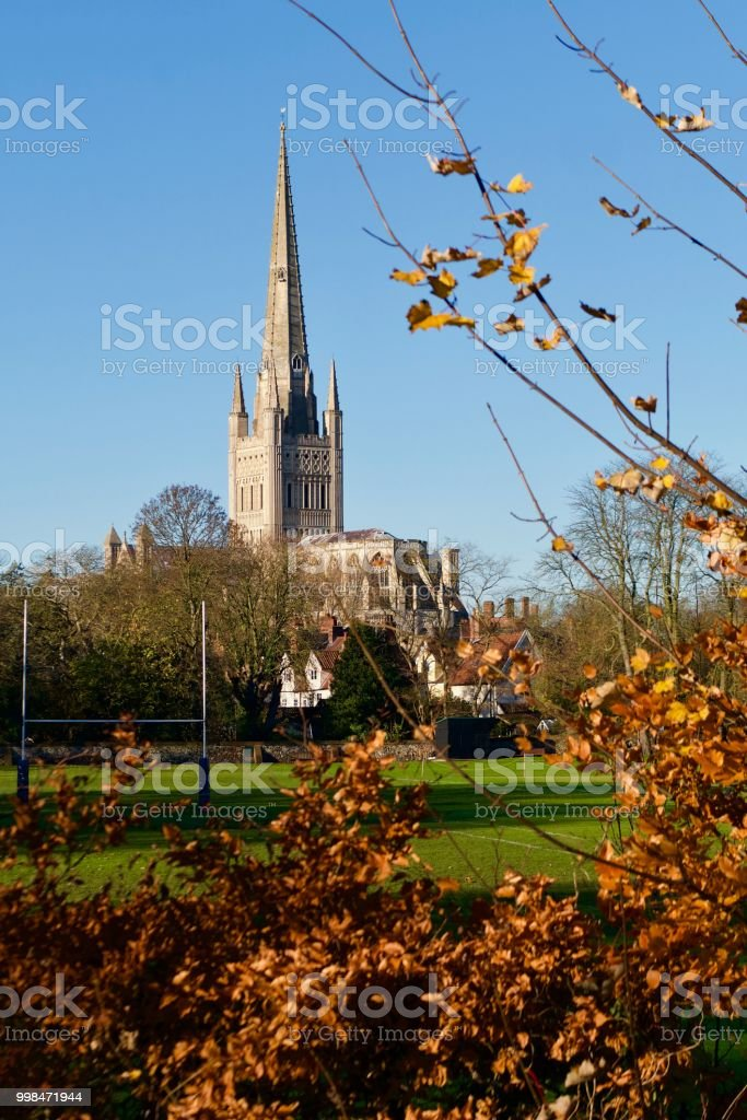 Norwich Catherdral with Autumn trees stock photo