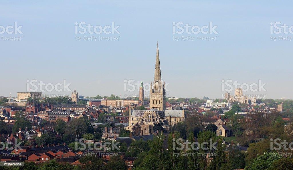 Norwich city centre in England stock photo