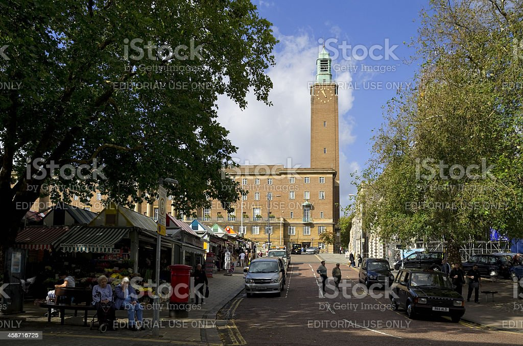 Norwich City Hall from the market royalty-free stock photo
