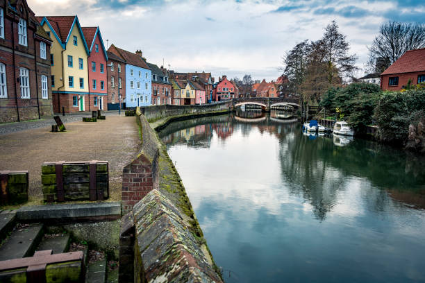 Norwich riverside scene along the banks of the river Wensum stock photo