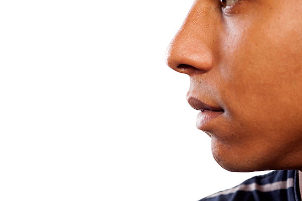 Nose and mouth of a dark-skinned young man close up shot of the nose and mouth of a dark-skinned young man human nose stock pictures, royalty-free photos & images
