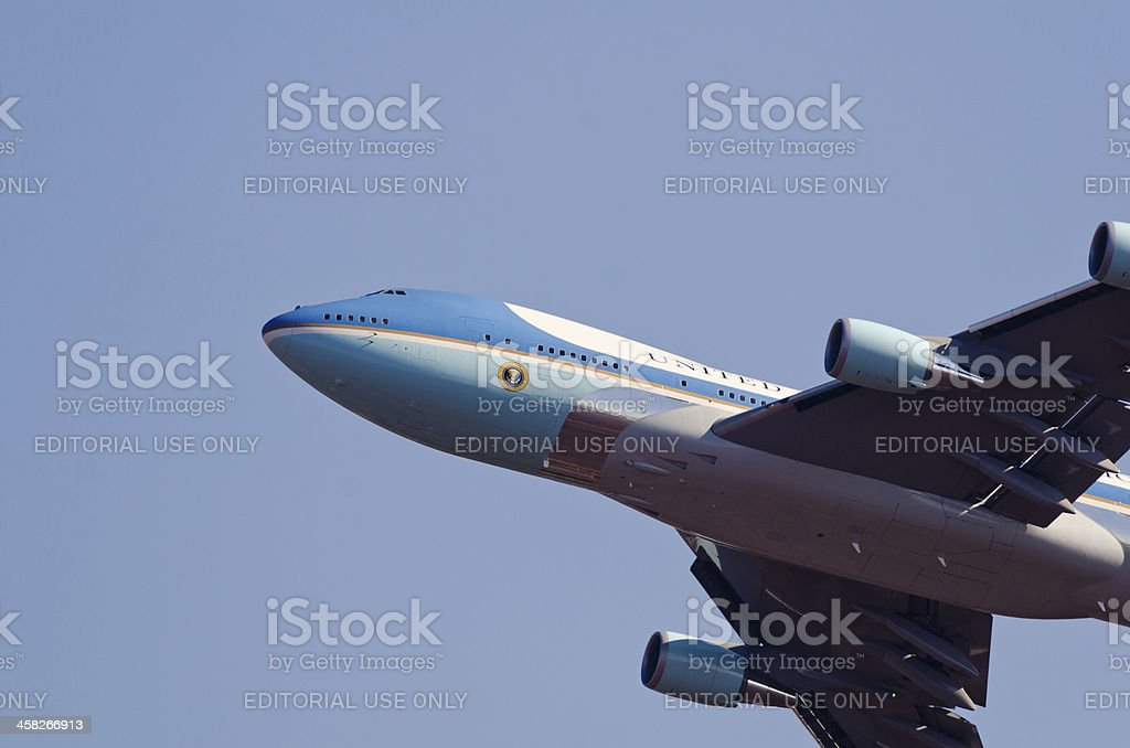 Nose detail of Air Force One stock photo