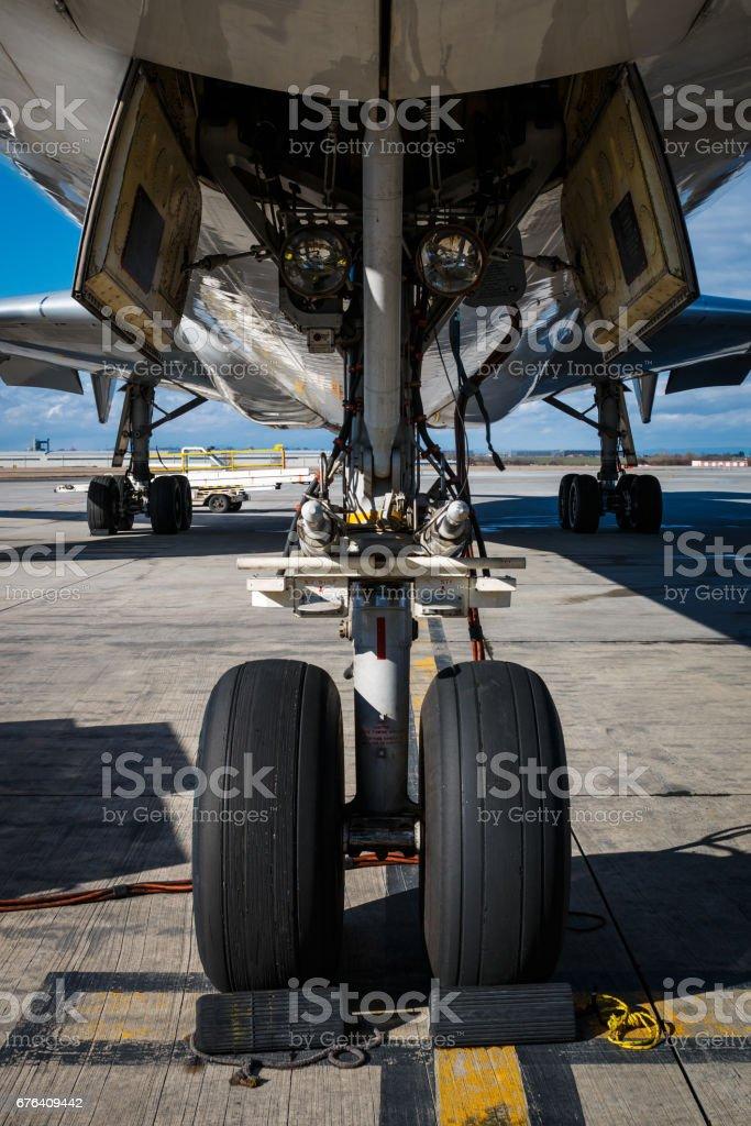 Nose landing gear stock photo