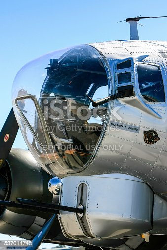 Sarasota Airport, FL, USA - February 8, 2015: The bomb aimer position and forward gun turret in a B17G Flying Fortress plane from WW2 seen at Sarasota airport in Florida
