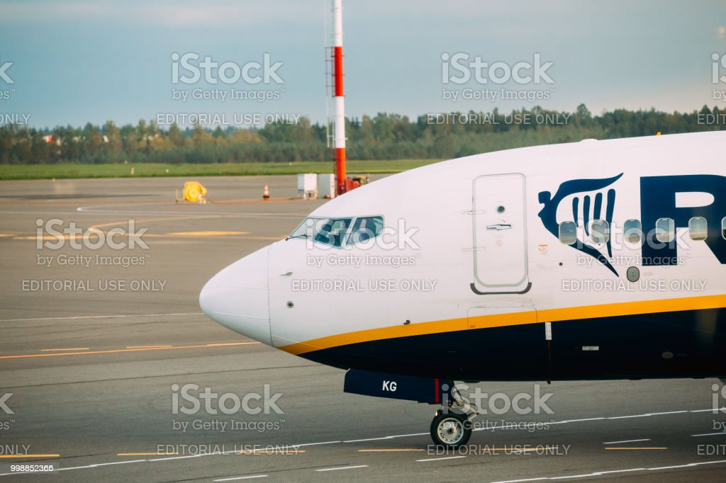 Nose Of Plane Of Irish Low-cost Airline Ryanair At Airport stock photo
