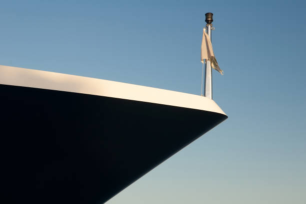 nose yacht on the blue sky. - yacht front view stock photos and pictures