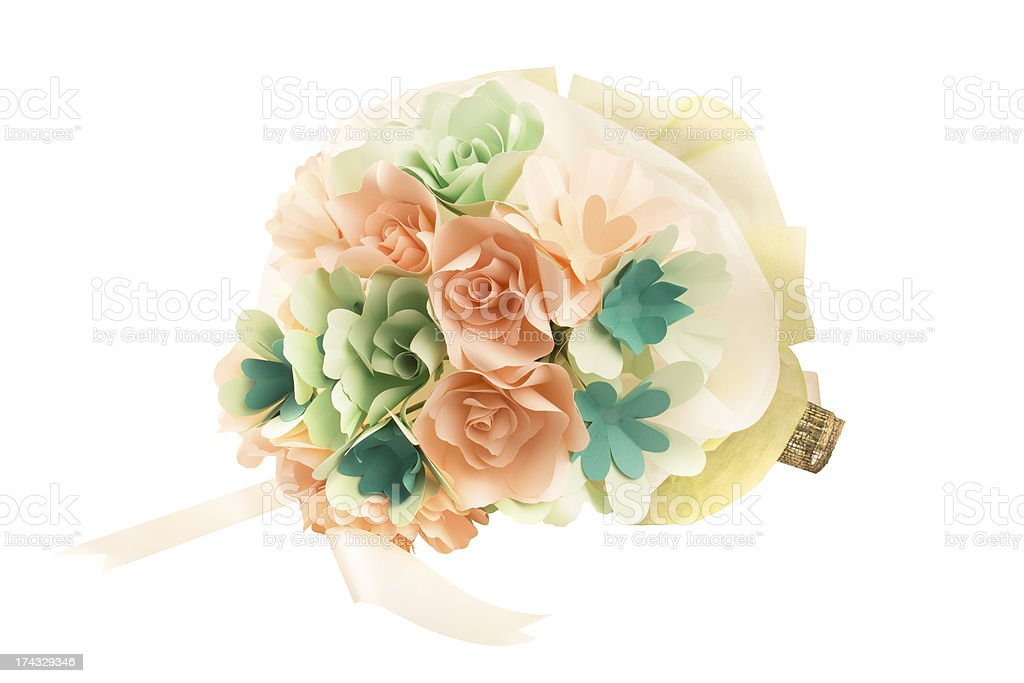 Nosegay bouquet, Paper Flowers , isolated with clipping paths. royalty-free stock photo