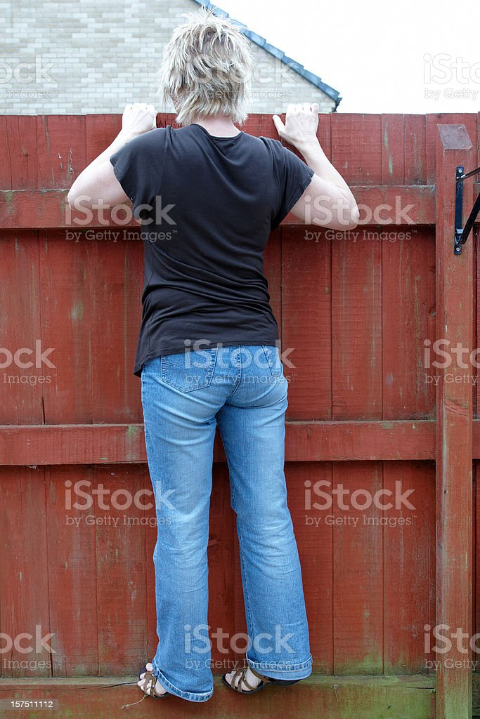 Nosey neighbour stock photo