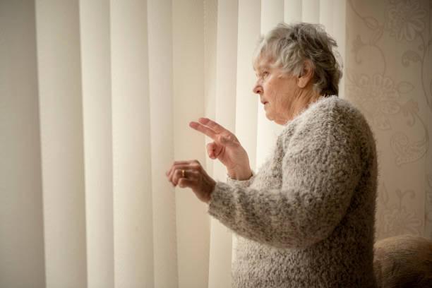voisin de nosey, femme âgée regardant par la fenêtre - indiscret photos et images de collection