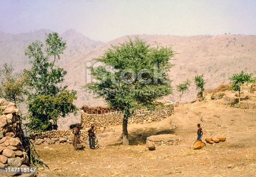 Nostalgia. Cameroon 1965. African women outside village in dry landscape with wide view. There are baskets with grain and one woman is  working with a pestle and mortar to make flour. There are storing spaces build from stones, Some green trees and a wide view into a valley.