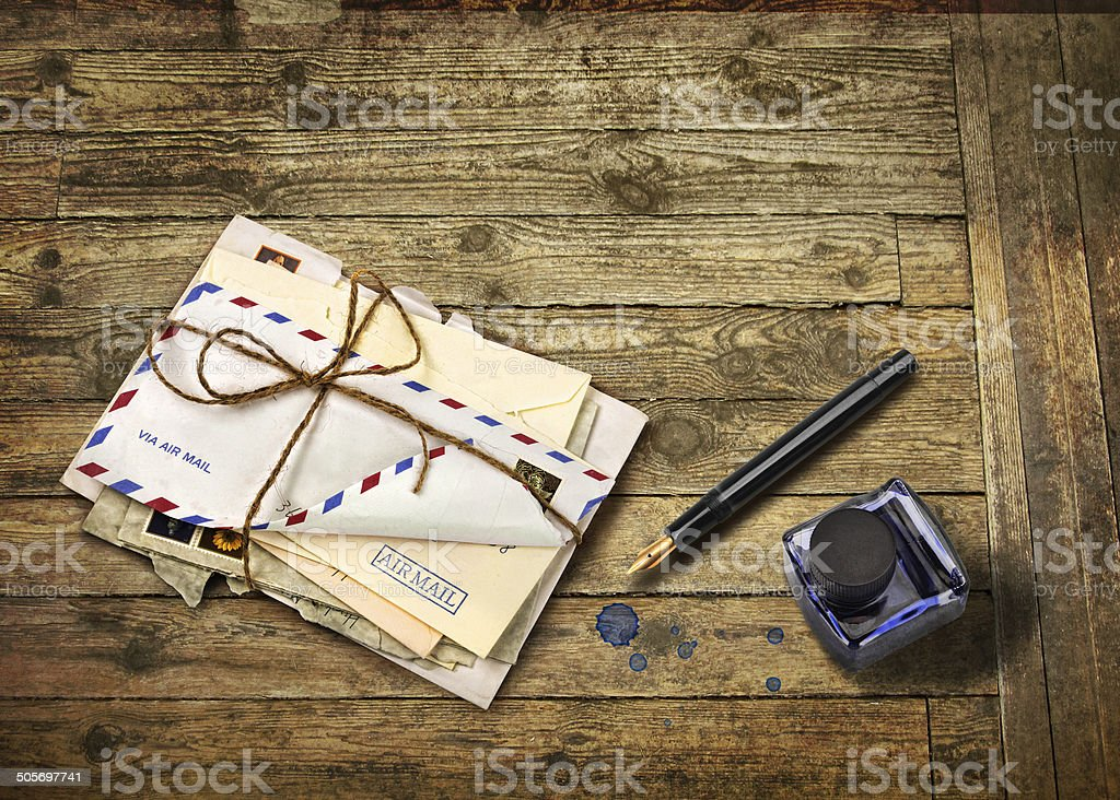 Nostalgic airmail letters stock photo