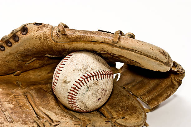 nostalgic baseball and glove - spring training stock photos and pictures