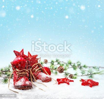 858960516 istock photo nostalgic christmas decoration with antique baby shoe 478225681