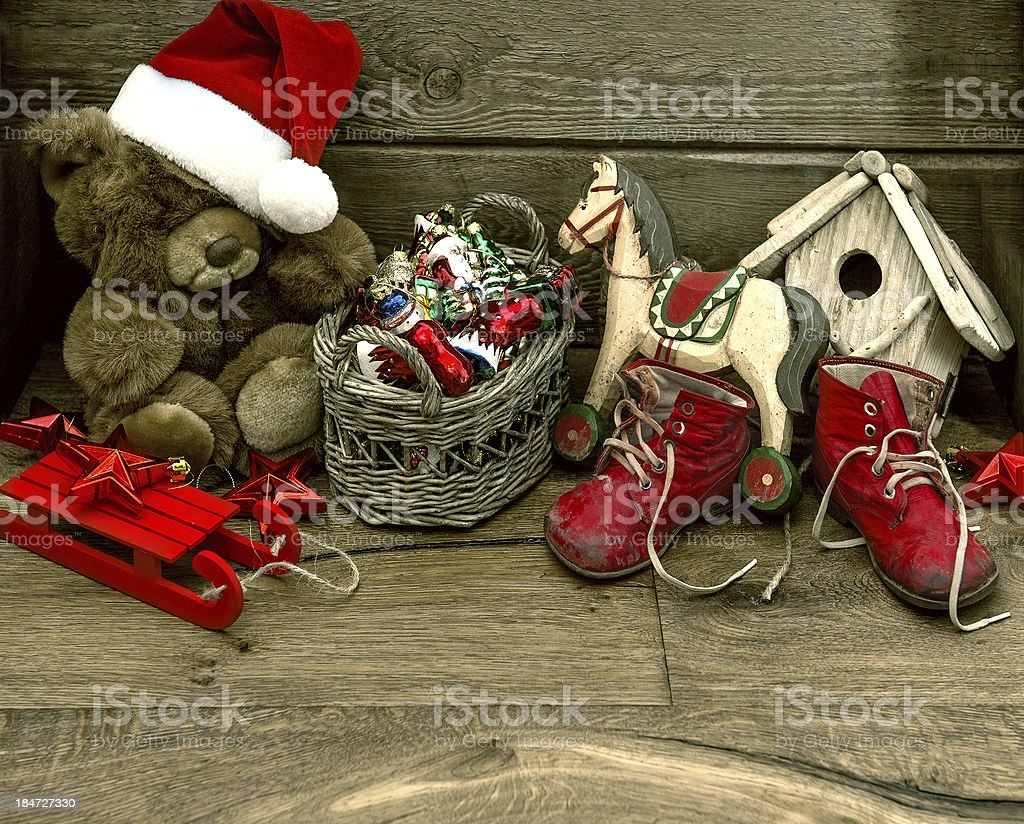 nostalgic christmas decoration with antique toys royalty-free stock photo