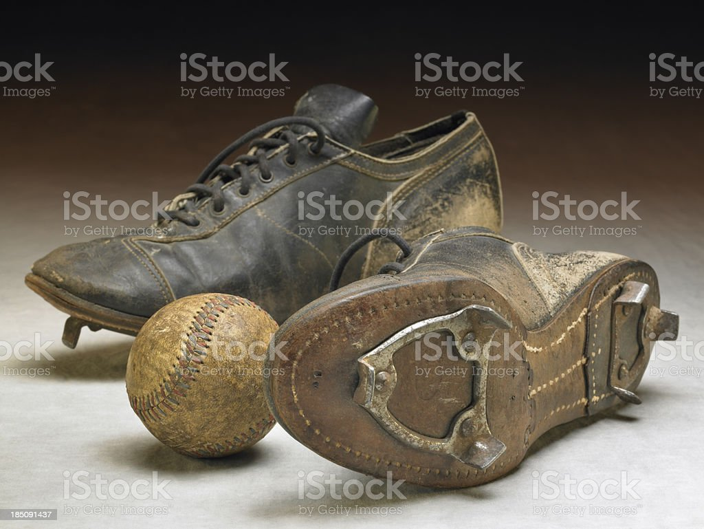Nostalgic cleats with antique baseball stock photo