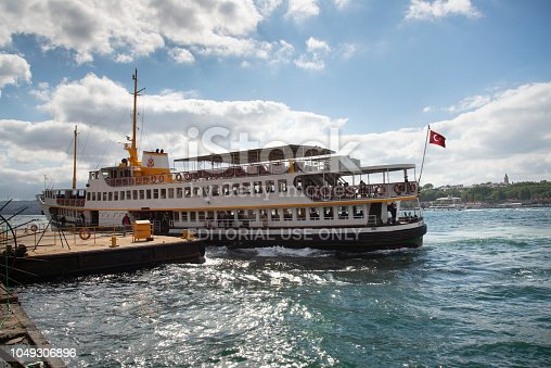Istanbul, Turkey - April 7, 2014: A ferry in Bosphorus. This type of ferry is called
