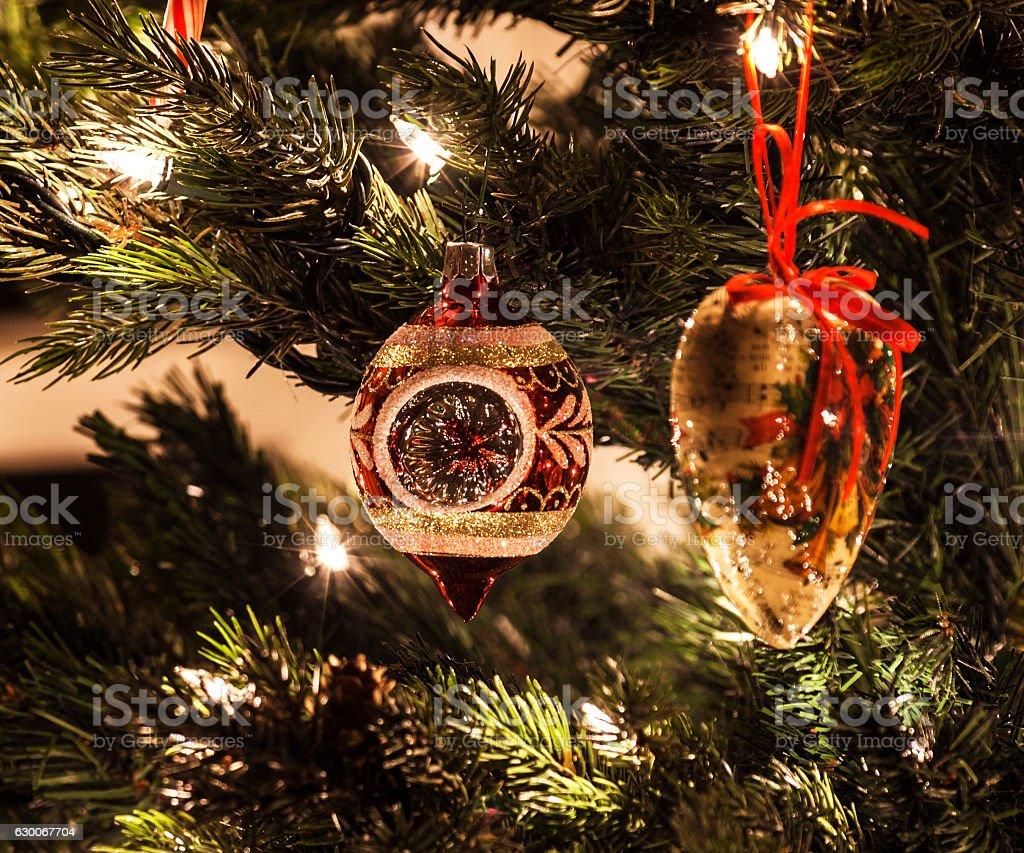 Nostalgic Hand Made And Generic Christmas Tree Ornaments Stock Photo ...