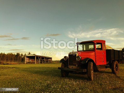 Antique Pickup Truck with an old sawmill on the side. Picture was taken in High Prairie, Alberta Canada.