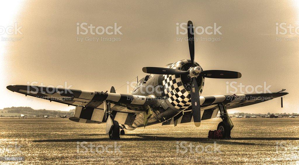 Nostalgic propeller fighter - plenty of copy space royalty-free stock photo