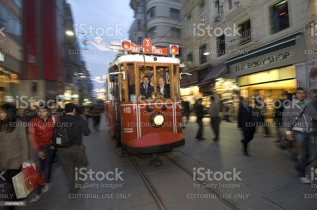 Nostalgic Trams passing through Istiklal street royalty-free stock photo