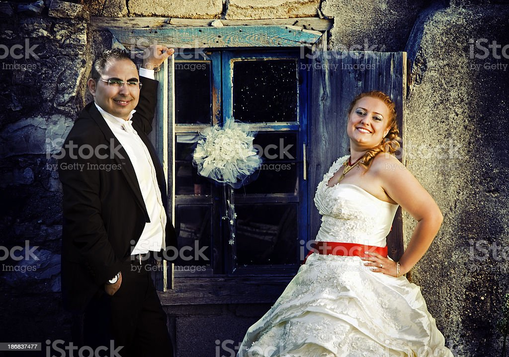 Nostalgic wedding couple royalty-free stock photo
