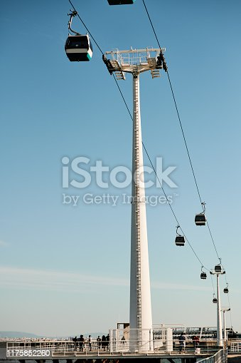 Cropped shot of cable way transport and cable cars during the day in Portugal