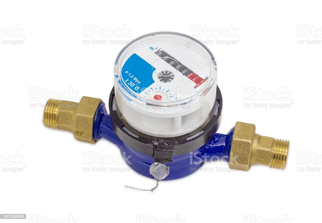 Not connected residential mechanical water meter on a light back stock photo