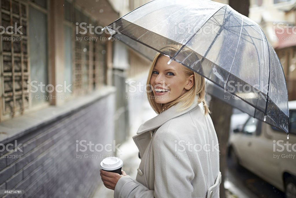 Not even the rain can bring me down! stock photo