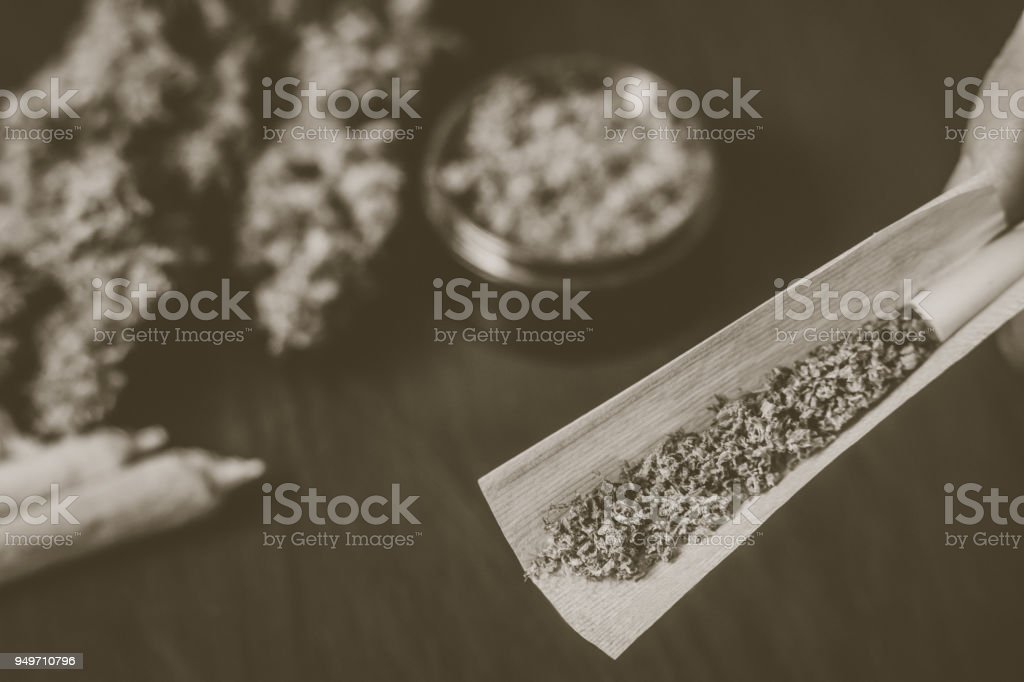 Not fully rolled jamb joint in the hands of a man marijuana weed Vintage color stock photo